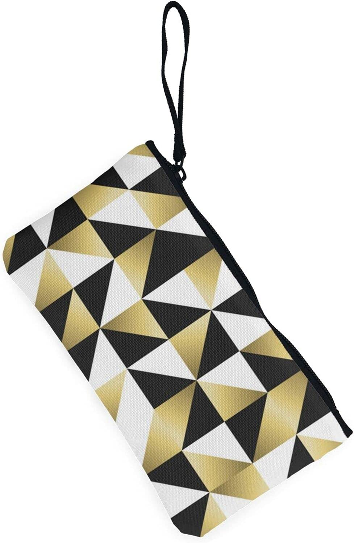 AORRUAM Fashion Black White Gold Triangles Canvas Coin Purse,Canvas Zipper Pencil Cases,Canvas Change Purse Pouch Mini Wallet Coin Bag