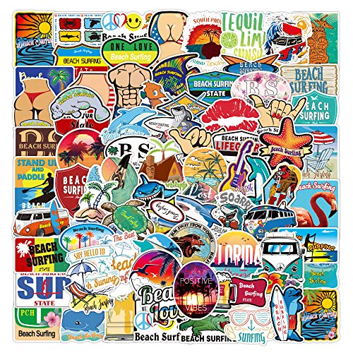 100 Pcs Vinyl Sea Stickers Outdoors Beach Surfing Decals Tropical Stickers Waterproof Vacation Beach Stickers Pack for Water Bottle Hydro Flask Laptop Skateboard Luggage Bike Car