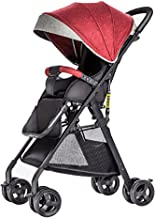 Sillas de paseo Cochecito de luz de alta paisaje cochecito de bebé portátil de viaje cochecito de bebé puede sentarse y acostado recién nacido coche paraguas del carro Carritos ( Color : Red )