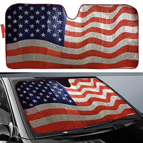 "Big Ant Car Sun Shade, Windshield Sun Shade American Flag Sunshades Keep Vehicle Cool Best UV Ray Visor Protector Prevent Your Car from Sun Heat & Glare(Size: 63""X 28.5"")"