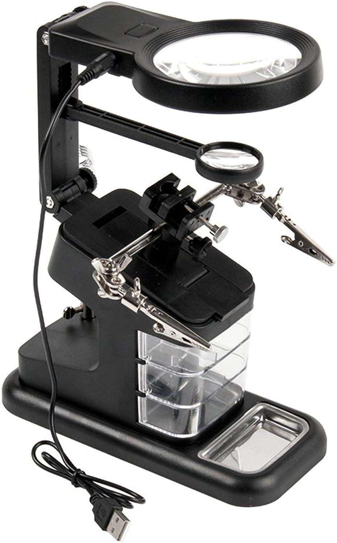 QZY 3X25x45 Desktop Multifunction Magnifier Auxiliary Clip USB 10 Light,Black