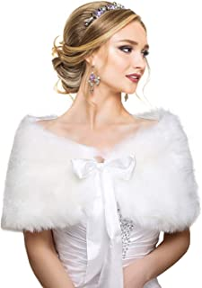 White Faux Fur Wrap Shawl Shrug Bolero Cape Lady Gift with Satin Bowknot, Bridal Ivory Faux Fur Jacket Coat Shawls Stole (S/M)