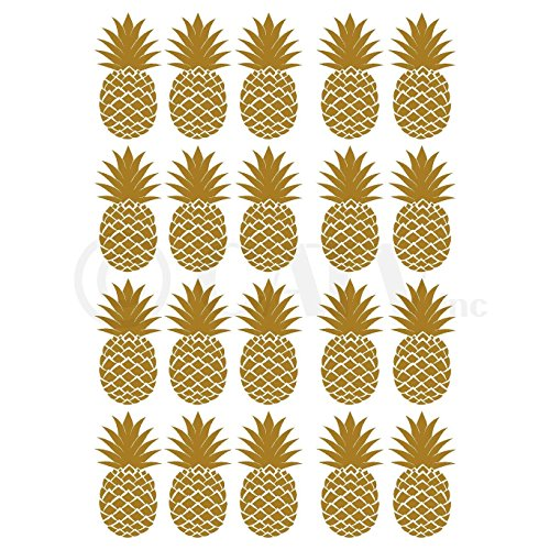 Pineapples Set of 20 wall pattern decal vinyl stickers (Gold)