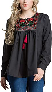 Women Loose Floral Embroider and Tassels Design Shirt Fashion Long Sleeves Maxi Blouse - Size 6XL