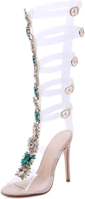 Pofameeta List price Women Sandals 5.5-11 Big Size High O 5 ☆ very popular Heels Rhinestones