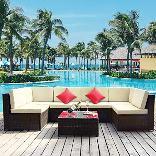 LZ LEISURE ZONE 7PCS Patio Furniture Set, All-Weather PE Rattan Sectional Garden Furniture Corner Sofa Set w/Glass Coffee Table for Backyard, Pool (White Cushion)
