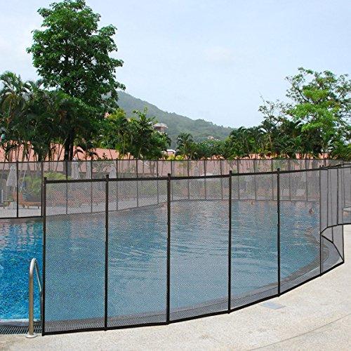 DREAMADE Poolzaun, Gartenzaun Schutzzaun Poolschutzaun Faltbar, Teichzaun 366 x 122 cm, Pool Zaun, Zubehör für Pool, Schwarz