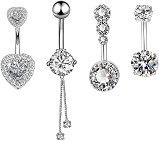 14G Surgical Steel Belly Button Rings Round/Love Heart Clear CZ Navel Curved Barbell Studs Sexy Body Piercing 4 Pcs A Set