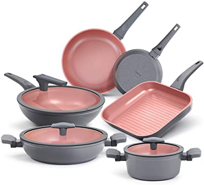 SHINEURI 9 Pieces Nonstick Pots Pans Set with Lids & Handles, Heavy-Duty Hard-Anodized Aluminum Cookware Set with Induction Base - Frying Pan Grill Pan for Stovetop - Dishwasher Safe Oven Safe