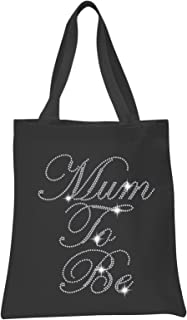 Crystal Black Mum to Be Baby Shower Tote Bags Personalised Favour Party Gift Bags