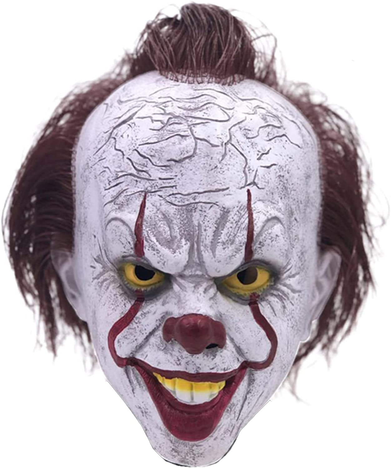 Ranking TOP20 Halloween Latex Pennywise OFFicial store Mask Scary with Hair Clown