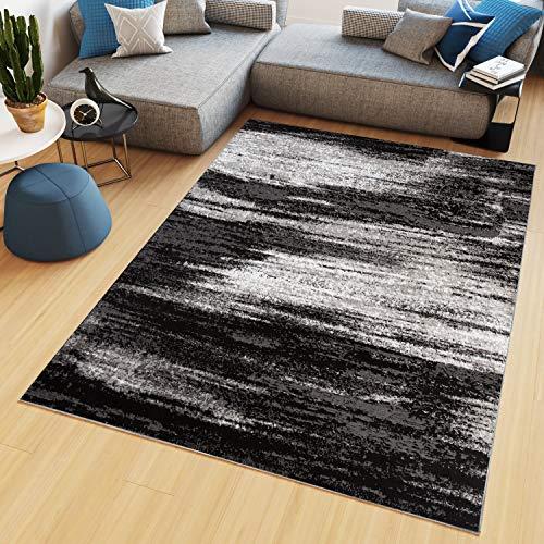 TAPISO Maya Alfombra de Salón Sala Comedor Diseño Moderno Gris Negro Blanco Moteado Delgada Pelo Corto 160 x 230 cm