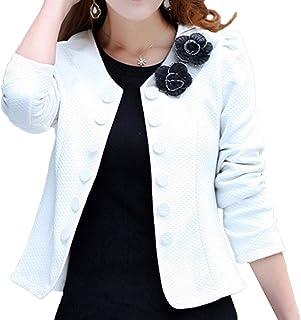 PT&Key Women's Blazer Bolero No Collar Jacket Formal Office Style