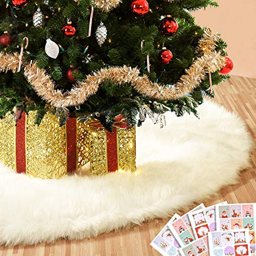 Joyjoz 48 Inch Christmas Tree Skirt, Large White Christmas Tree Skirt with 48 PCS Stickers,Luxury Faux Fur for Christmas Decorations Holiday, Xmas Ornaments