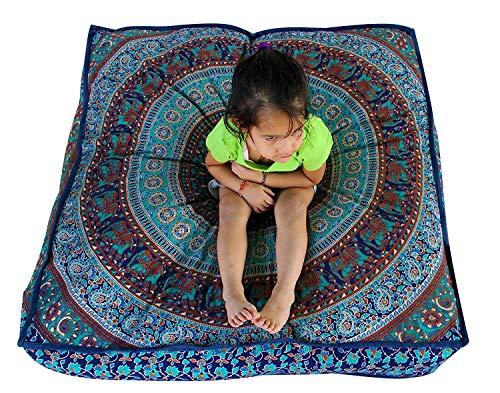 Quadratischer, übergroßer Kissenbezug mit Mandala-/Elefantenmotiv, indischer Stil, für Sitzkissen, Sofa oder Hundebettchen, 88,9x 88,9cm