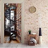 YANCONG Vinilo Puerta Mural Pared Estantería De Escalera De Caracol 3D Casa De Papel Papel Pintado Usado para Cocina Sala De Baño 95X215Cm
