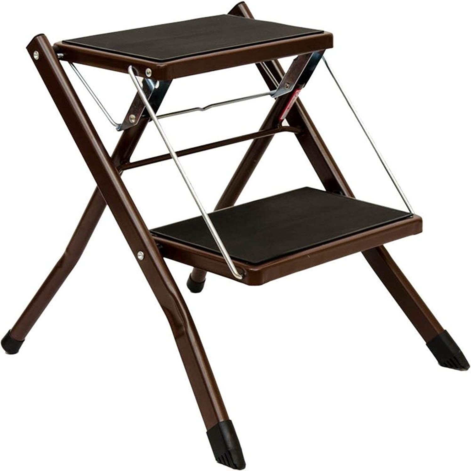 GAIXIA-Ladder stool Household Two-Step Ladder Step Stool Indoor Folding Step Stool Anti-Skid Ladder (color   Brown)