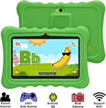 YUNTAB 7 inch Kids Edition Tablet - Android OS & Quad Core CPU, 1GB RAM, 8GB ROM, Kids Software Pre-Installed, Premium Parent Control with Protecting Silicone Case.(No Charger - Green)