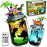 Alritz DIY Dinosaur Lantern Crafts Kits with 6 Mini Realistic Dinosaur, Dinosaur Toys Arts and Crafts Night Light Project Gifts for Kids Boys Girls Ages 4 5 6 7 8 9 10, Create a Dino World