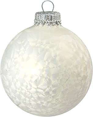 """Made in The USA Designer Seamless Pearl Icelock 2 5/8"""" (67mm) Christmas Ball Ornaments, 6 Pieces"""
