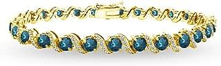 Sterling Silver Genuine, Created or Simulated Gemstone Round S Design Tennis Bracelet
