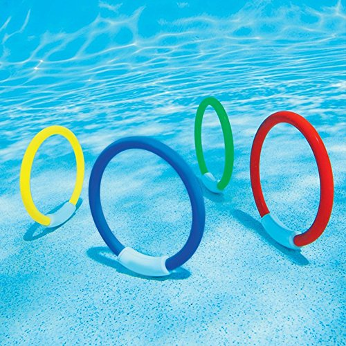 Fayeille 4 anillos de buceo para niños, juguete para piscina, playa, juego bajo el agua