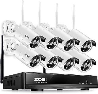 ZOSI 960P Kit de Cámaras Seguridad WiFi Inalámbrico 8CH Video Grabador + (8) Cámara de Vigilancia Exterior Visión Nocturna Detección de Movimiento Sin Disco Duro