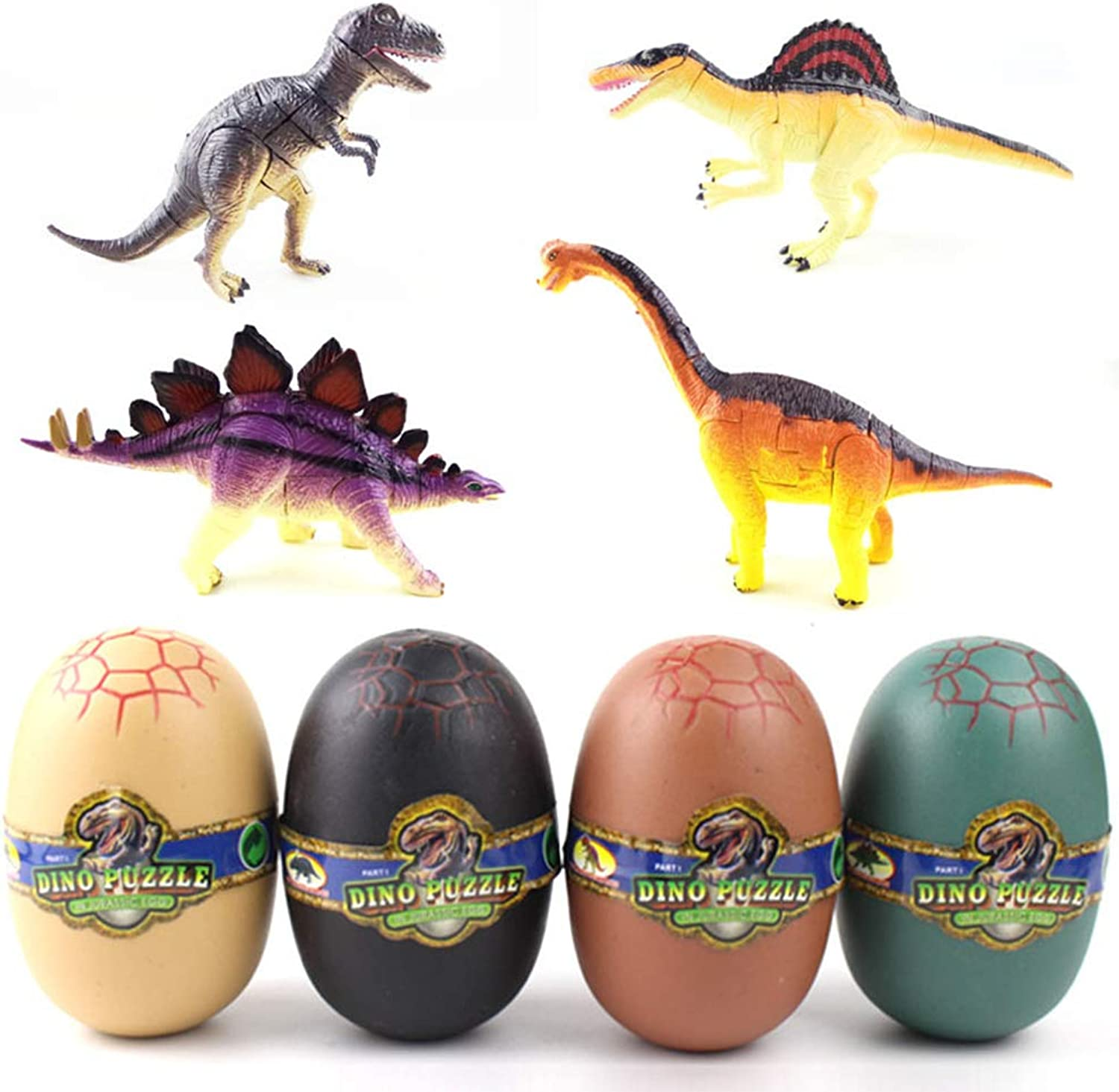 ETbotu 4PCS 4D Assembly Dinosaur Eggs Modeling Deformed Toys Kids Educational Props 6566