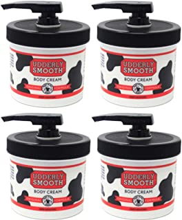 Udderly Smooth Body Cream Skin Moisturizer, 10-Ounce Jars with Dispenser Pump (Pack of 4)