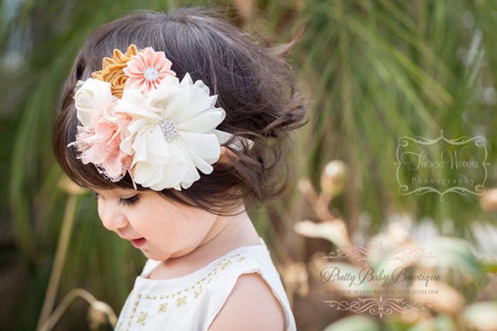 SALE Peach Baby Headband Baby Headband Infant Headband Girl Headband Peach Chevron Baby Headband Newborn Headband Toddler Headband