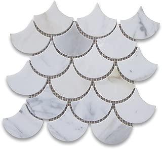 Calacatta Gold Italian Calcutta Marble Grand Fan Shaped Fish Scale Mosaic Tile Polished