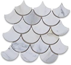 Calacatta Gold Italian Calcutta Marble Grand Fan Shaped Fish Scale Mosaic Tile Polished