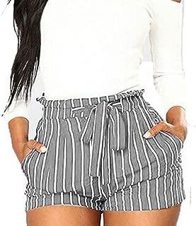YKARITIANNA Women Stripe Printing Pocket High Waist Bandage Easy Elastic Casual Short Pants