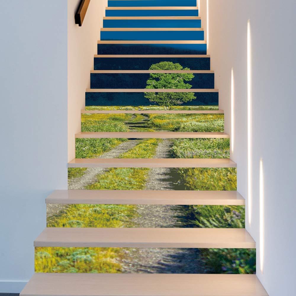 YIHZNAG WUTONGEtiqueta engomada Verde Simple de la Escalera del árbol Etiqueta engomada Creativa de la Pared de la Escalera de la Moda Creativa: Amazon.es: Hogar