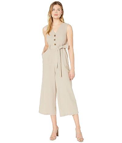 Calvin Klein Belted Button Front Bodice Jumpsuit (Khaki) Women