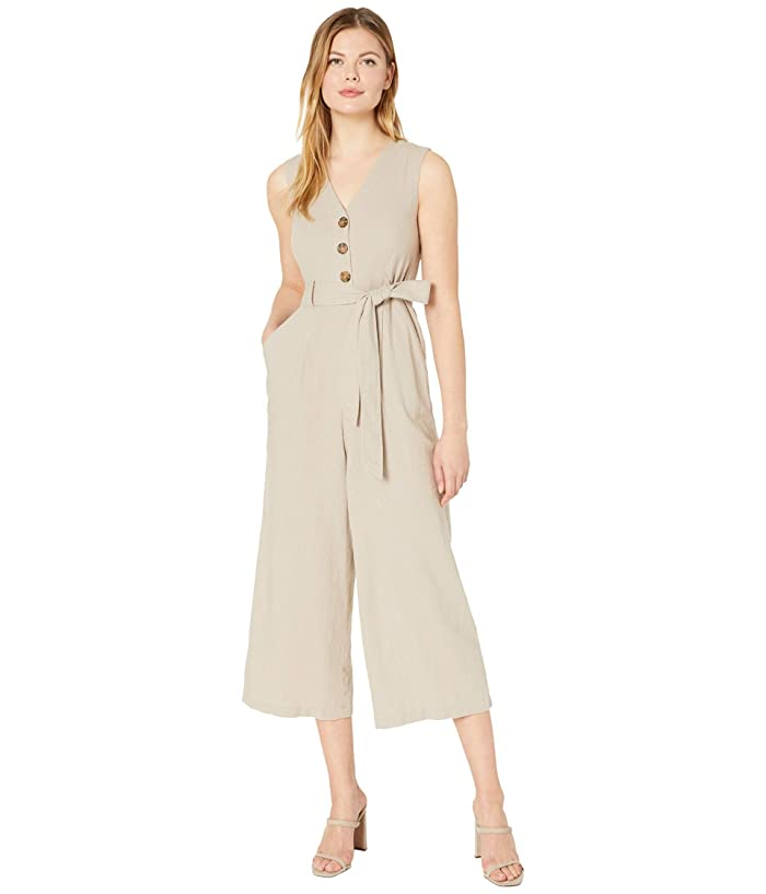 Belted Button Front Bodice Jumpsuit (Khaki) Women's Jumpsuit & Rompers One Piece