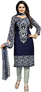 Rensila Fab Women French Crepe Dress Material (RFO_Blue Queen_D_Navy Blue_Free Size)