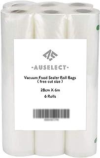 Vacuum Food Sealer Roll Bags 28CMx6M 6Pack AUSELECT Saver Seal Storage Heat Commercial Grade Bag Rolls for Food Saver