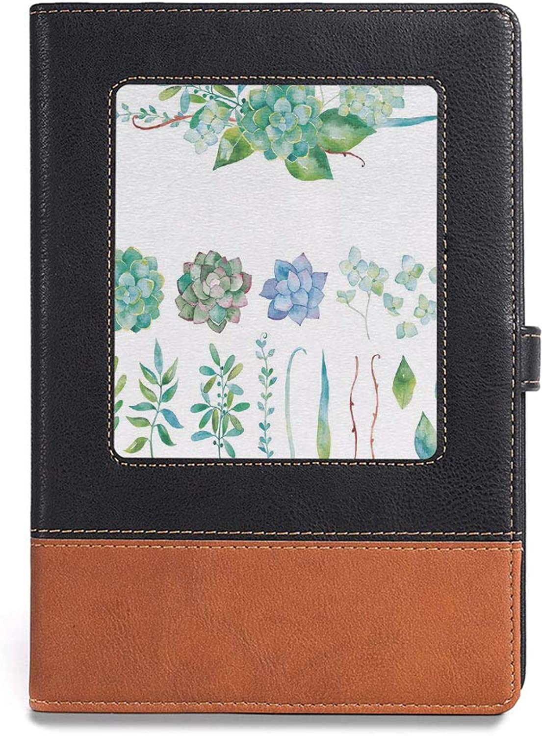 Travel Journal Diary Notebook,Succulent,A5(6.1  x 8.6 ),for Travelers,colorful Floral Collection Leaves and Flowers Watercolor Botany,