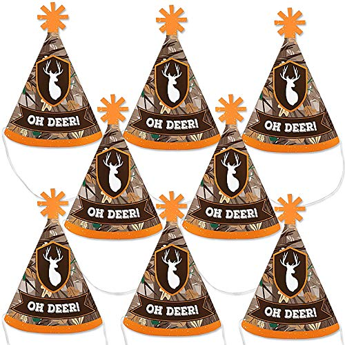 Big Dot of Happiness Gone Hunting - Mini Cone Deer Hunting Camo Baby Shower or Birthday Party Hats - Small Little Party Hats - Set of 8