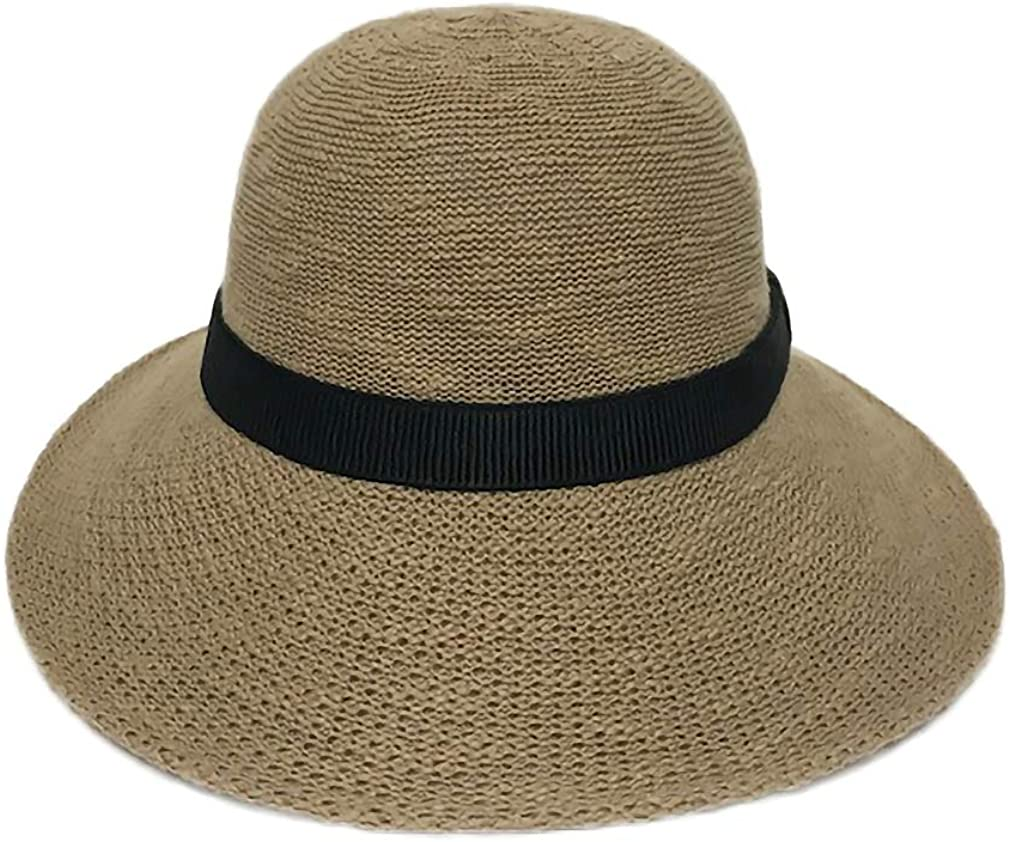 Packable Half Turn Brim One Size Fits Most Cotton Blend Sun Hat with Black Trim Detail