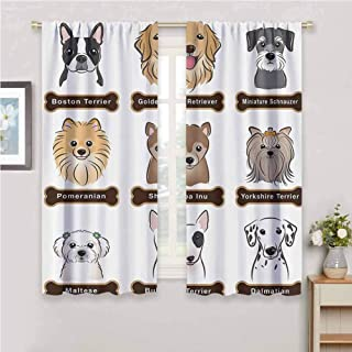 GUUVOR Dog Lover Decor All Season Insulation Various Type of Dogs Nameplate Boston Terrier Domestic Animal Faithful Loyal Noise Reduction Curtain Panel Living Room W54 x L72 Inch Grey Cream White