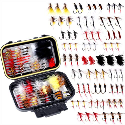 Fly Fishing Flies Kit, Fly Fishing Lures, Fly Fishing Dry Flies Wet Flies Assortment Kit with Waterproof Fly Box for Trout Fishing