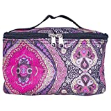 Zippered Small Retro Purple Paisley 8 x 5 Microfiber Fabric Cosmetic Makeup Bag