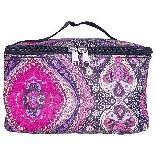 Zippered Small Retro Purple Paisley 8 x 5 Microfiber Fabric Cosmetic Makeup Bag