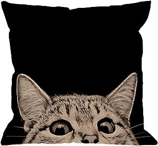 HGOD DESIGNS Black Cat Pillows Decorative Cute Cat Watching on Black Backgroud Cotton Linen Throw Pillow Case Square Cushion Cover Pillowcase for Men Women 18 x 18 inch