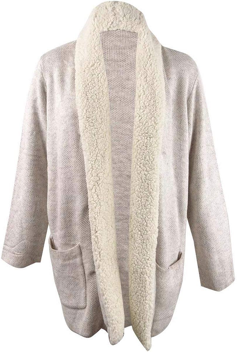 Style & Co. Women's Plus Size Sherpa-Collar Cardigan (3X, Hammock Heather Combo)