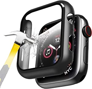 CASE88 for Apple Watch 44 mm SE/Series 6/5/4 Built-in 9H Ultra Thin HD Tempered Glass Screen Protector, All-Around Ultra-Thin Bumper Full Cover Hard PC Protective Case for iWatch 4/5/6/SE 44MM