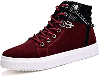 Fashion Men's Tide Shoes Chain Canvas Shoes High to Help Casual Shoes