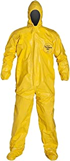 DuPont QC122SYL2X00 Tychem QC Chemical Protection Coveralls with Serged Seams, Front Zipper Closure, Attached Hood & Sock Boots, Elastic Face & Elastic Wrists, 2X, Yellow
